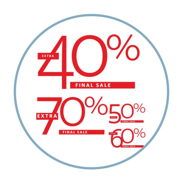 Final Sale Aufkleber Prozente